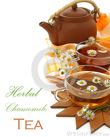 Cups Of Tea With Chamomile And A The Clay Teapot O Stock Photos - Image: 25246903