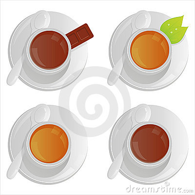 Cups with tea and coffee