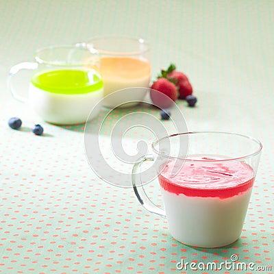 Cups of yoghurt