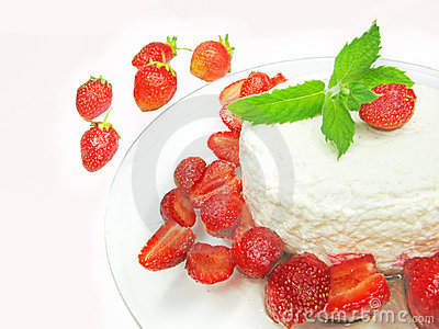 Curd pudding dessert with strawberry