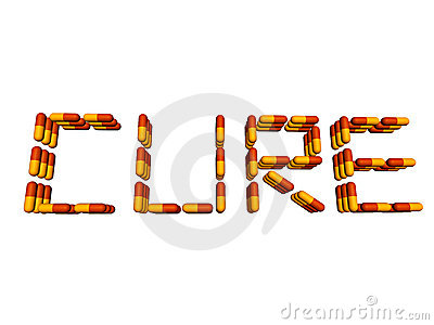 Cure text by pills isolated on white
