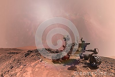 Curiosity Mars Rover exploring the surface of red planet. Stock Photo