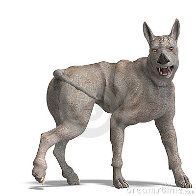 Curious alien dog with rhino skin and horn
