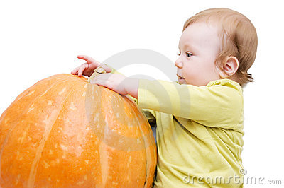 Curious Baby Boy Playing With Pumpkin Royalty Free Stock Images - Image: 11792719