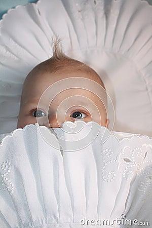 Curious baby peekaboo