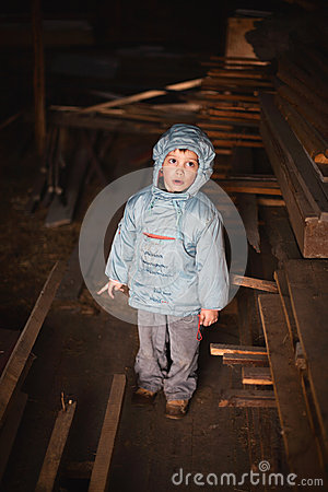 Curious boy in attic