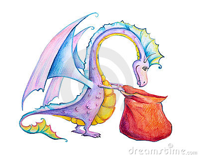 Curious dragon with a sack full of gifts