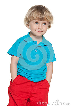 Free Curious Little Boy In Blue Shirt Royalty Free Stock Photos - 33460128