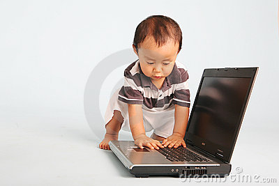 Curious Toddler with Laptop
