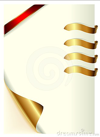 Curled page and gold ribbons