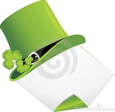 Curled page and St. Patrick s Day hat with clover