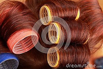 Curlers in hair