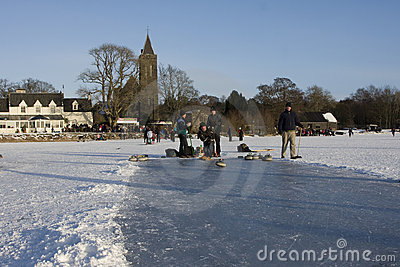 Curling on the Lake of Menteith Editorial Stock Image