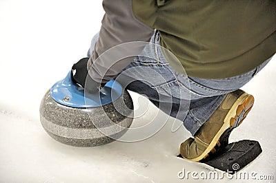 Curling-Launching the Rock.