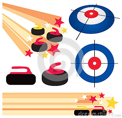 Curling Rock and House Graphic Elements