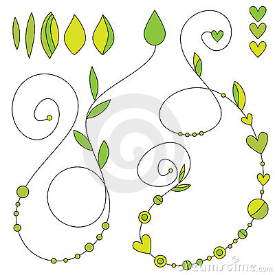 Curls with leaf, heart and dot decoration