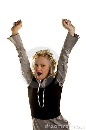Curly Blonde Woman Yawning