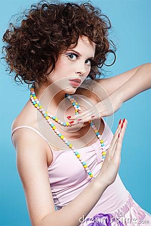 Curly brunette girl