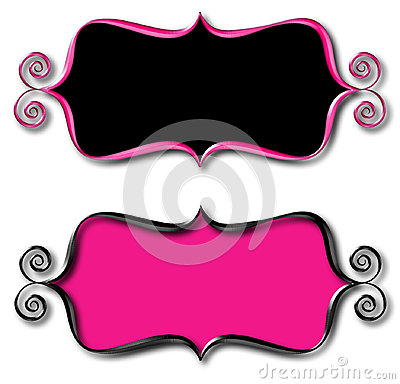 Curly Frame Modern Pink Black Tag