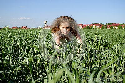 Curly girl on nature