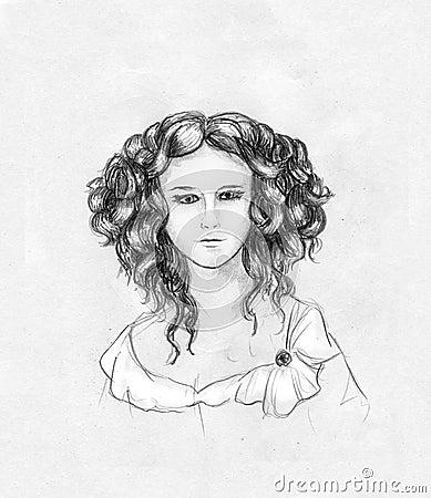 Curly-headed girl portrait