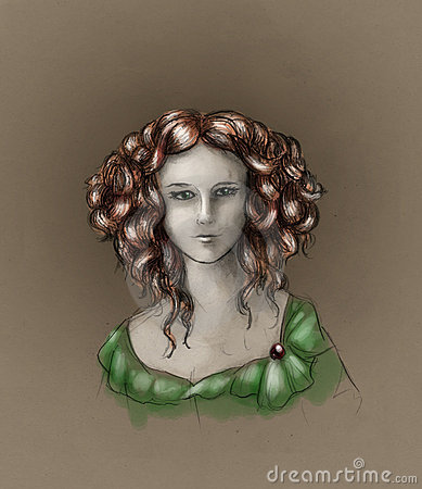 Curly-headed girl portrait - color