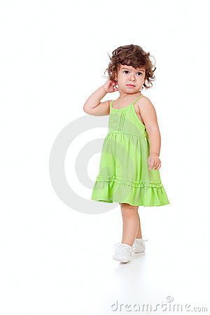 Free Curly Pensive Little Girl Isolated On White Royalty Free Stock Images - 21807139