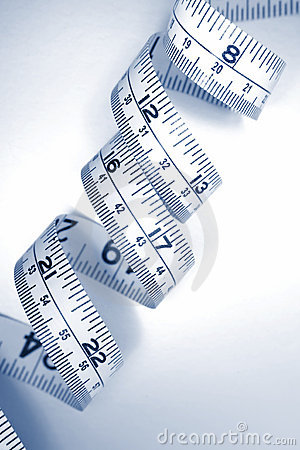 Curly tape measure in inches