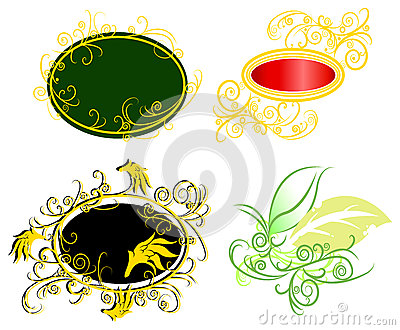 Curly vine fantasy badge set (vector)