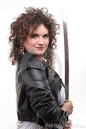 Curly woman curly girl and sword