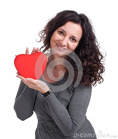 Curly woman holding  heart
