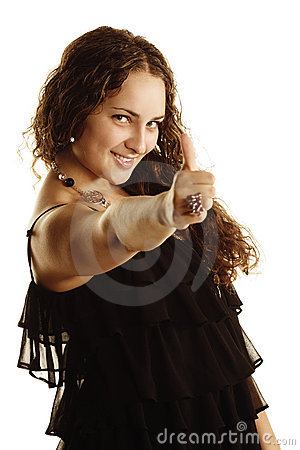 Curly woman with thumb up