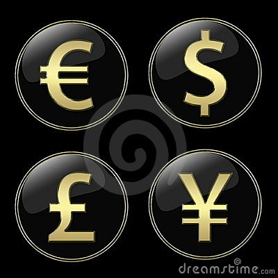 Currencies signs buttons