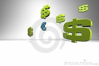 Currencies symbols on white