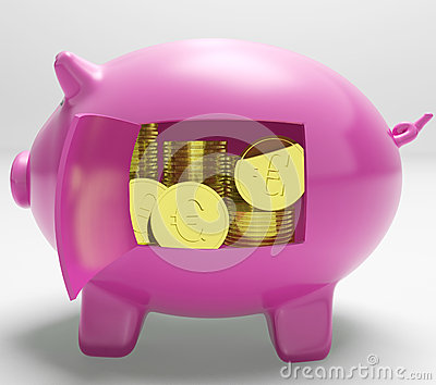 Currency Coins Piggy Shows Savings And Investment