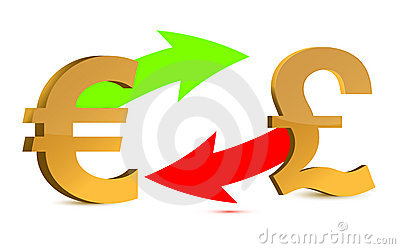 Currency Exchange. Euro And Pound On White Backgro Royalty Free Stock Photo - Image: 20850005