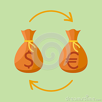 Currency Exchange Money Bags With Dollar And Euro Sign Cartoon