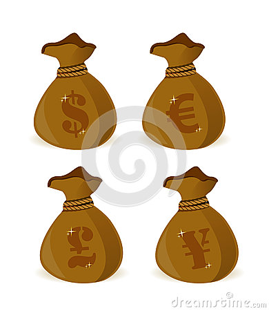 Currency money bags sign