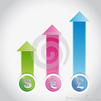 Currency prices graph illustration design