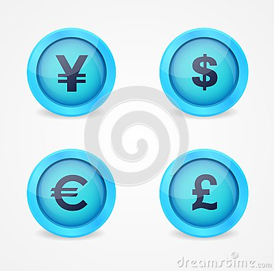 Currency signs on glossy icons