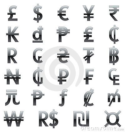 Free Currency Symbols Of The World Royalty Free Stock Image - 21591416