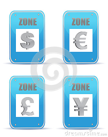 Currency zones symbol illustration design signs