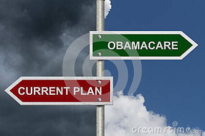 Current Plan versus Obamacare Editorial Photo