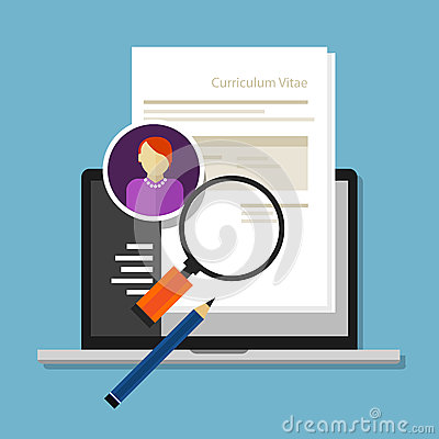 Curriculum vitae cv resume employee recruitment data paper work Vector Illustration