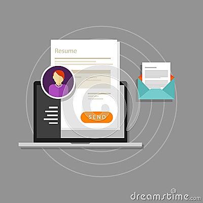 Curriculum vitae cv resume employee recruitment paper work send online Vector Illustration
