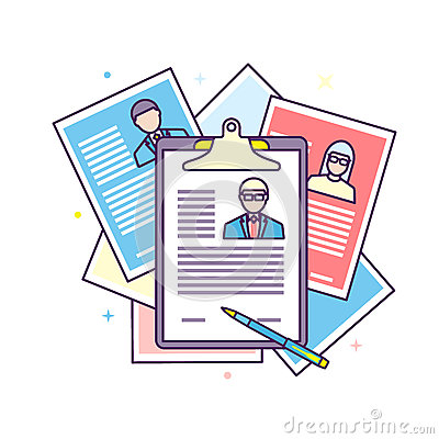 Curriculum vitae recruitment candidate job position. Vector Illustration
