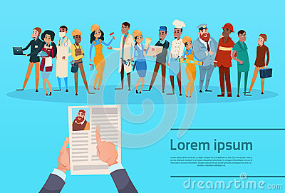 Curriculum Vitae Recruitment Candidate Job Position, Hands Hold CV Profile Choose Group Different Occupation, Employees Vector Illustration