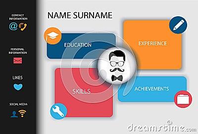 Curriculum Vitae. Resume modern creative design. Vector Illustration