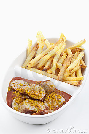 Curried sausages and french fries