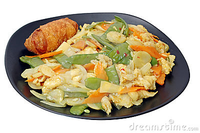 Curry Chicken, Egg Roll, Isolated